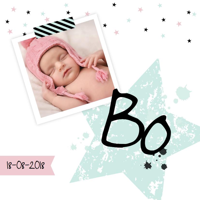 Geboortekaartjes - Geboortekaartje foto ster mint