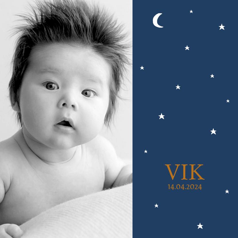 Geboortekaartjes - Geboortekaartje foto sterren maan jongen