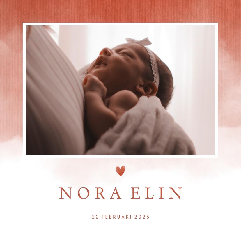 Geboortekaartjes - Geboortekaartje foto terra roze waterverf met hartje