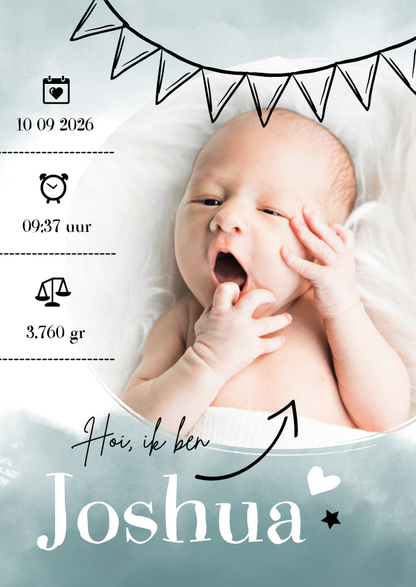 Geboortekaartjes - Geboortekaartje foto turquoise waterverf & slinger