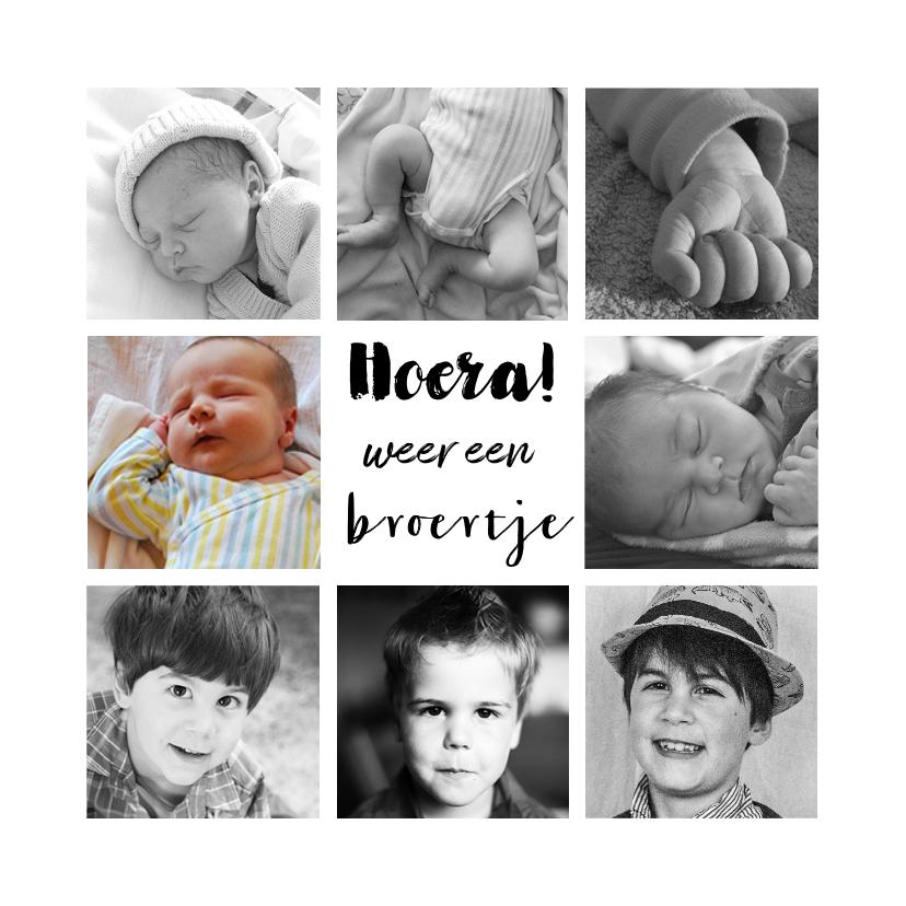 Geboortekaartjes - Geboortekaartje fotocollage broertje of zusje