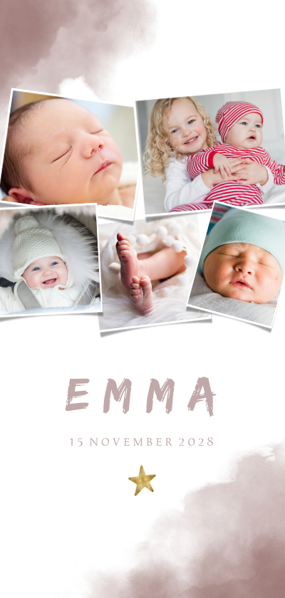 Geboortekaartjes - Geboortekaartje fotocollage waterverf 5 foto's