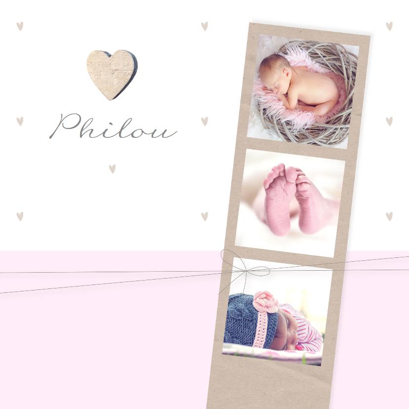 Geboortekaartjes - Geboortekaartje fotostrip hartje