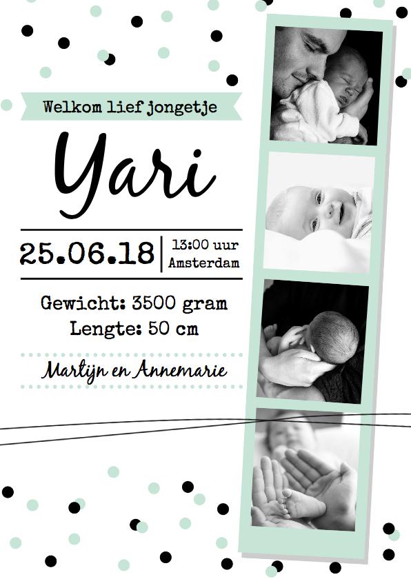 Geboortekaartjes - Geboortekaartje fotostrip jongen