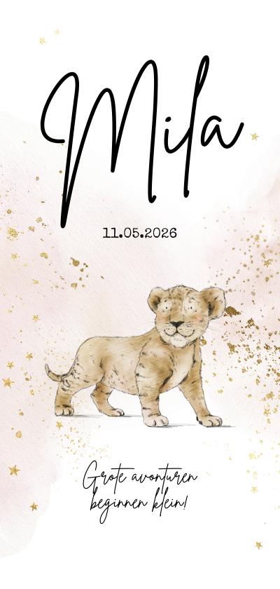 Geboortekaartjes - Geboortekaartje geïllustreerd babyleeuwtje watercolour goud
