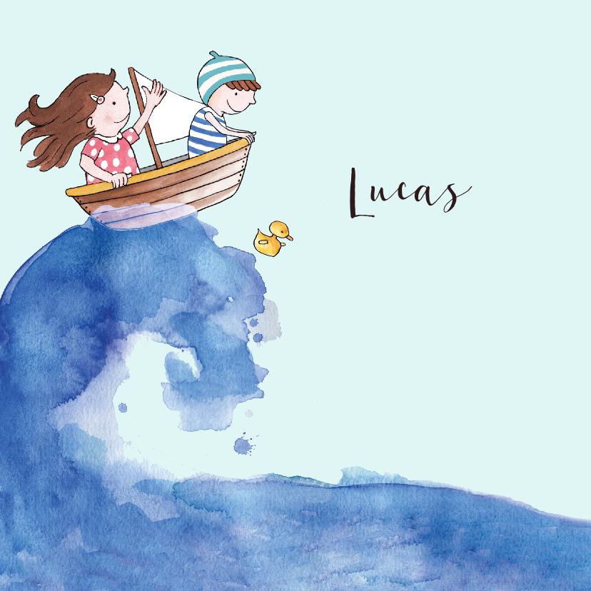 Geboortekaartjes - Geboortekaartje getekend bootje op zee broertje