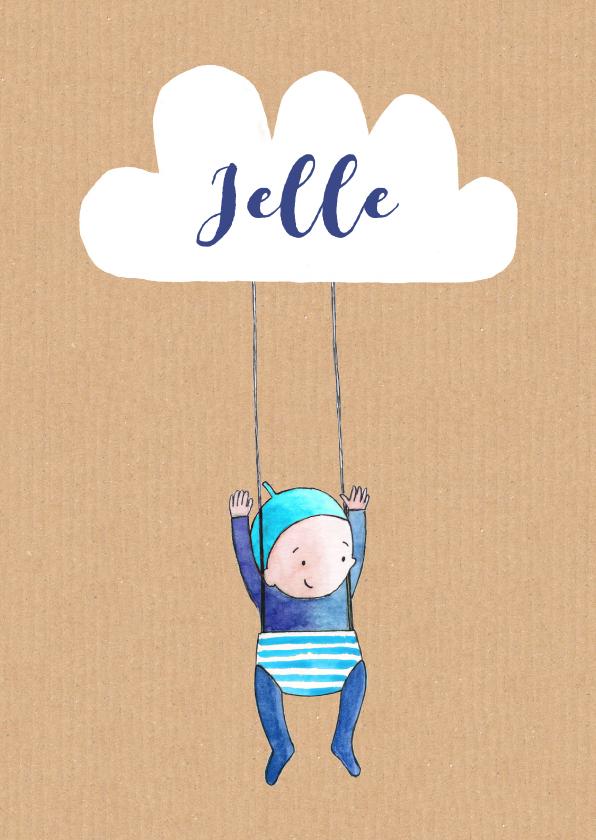 Geboortekaartjes - Geboortekaartje getekend  wolk  Jongen
