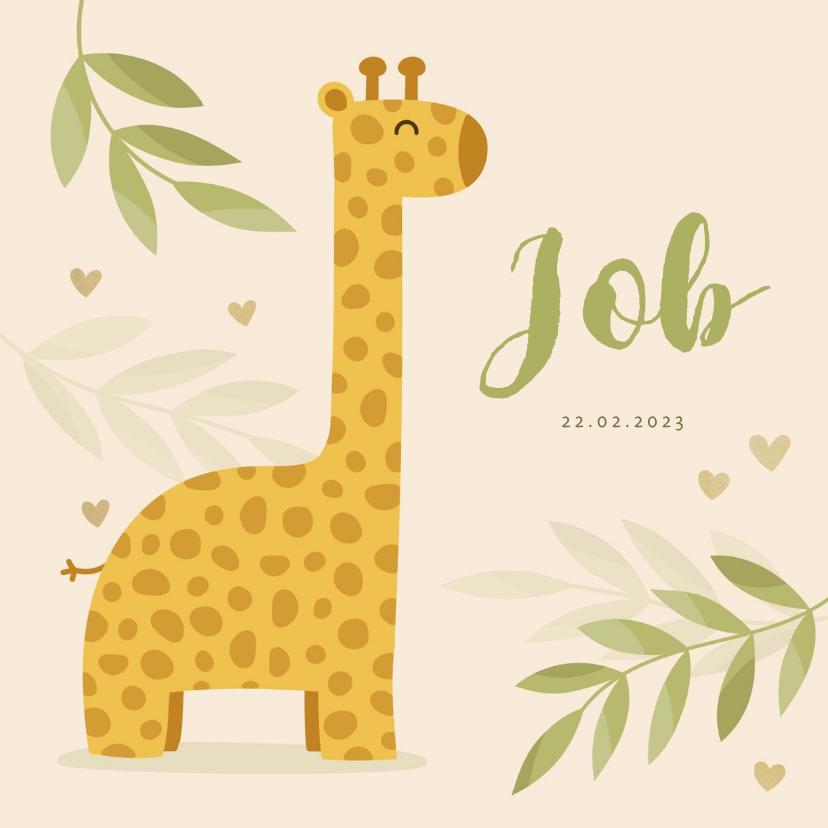 Geboortekaartjes - Geboortekaartje giraf botanisch met gouden hartjes