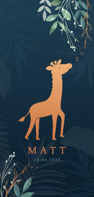 Geboortekaartjes - Geboortekaartje giraf koperlook