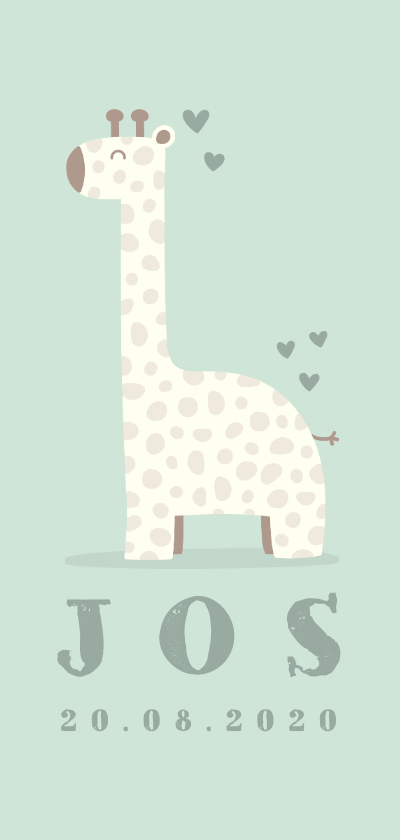 Geboortekaartjes - Geboortekaartje giraf langwerpig jongen met hartjes