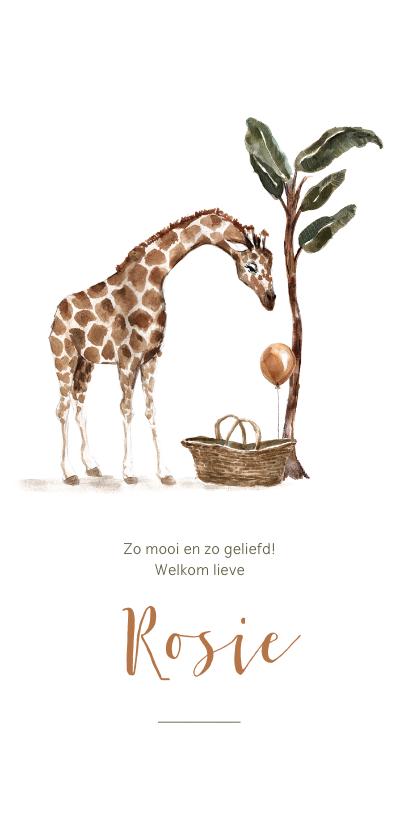 Geboortekaartjes - Geboortekaartje giraf met baby mand en ballon