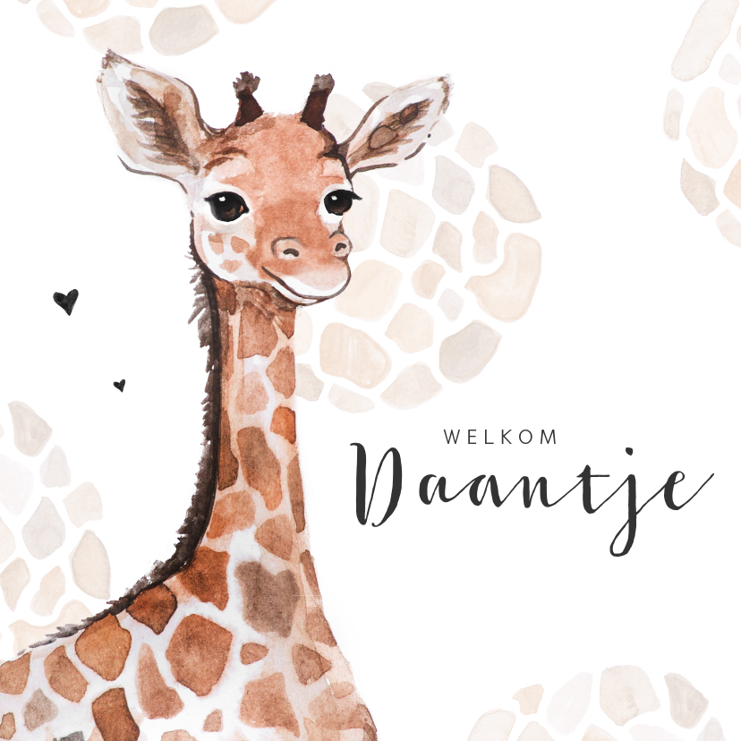Geboortekaartjes - Geboortekaartje giraf patroon lief jongen  meisje hartjes