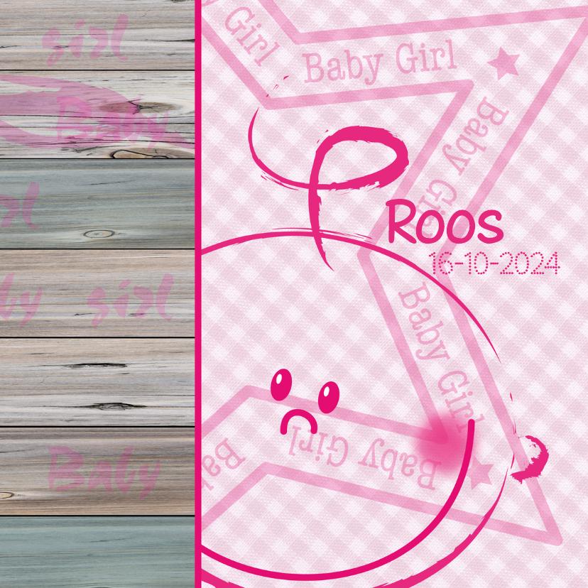 Geboortekaartjes - Geboortekaartje GIRL ruit hout