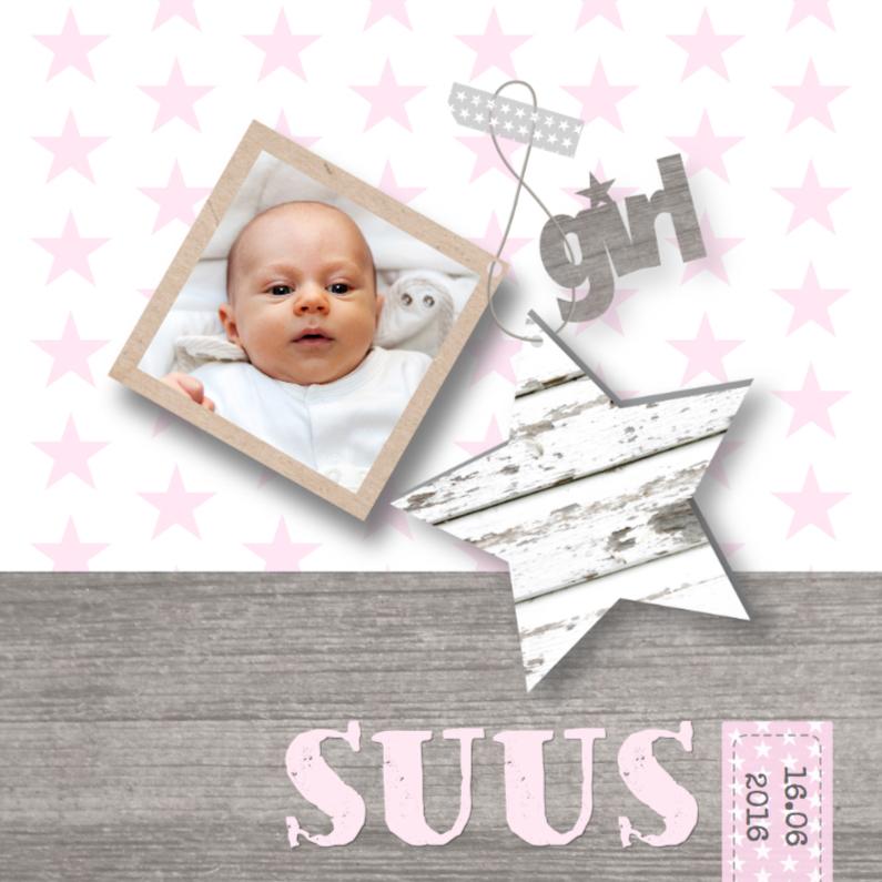 Geboortekaartjes - Geboortekaartje Girl Stars&Foto