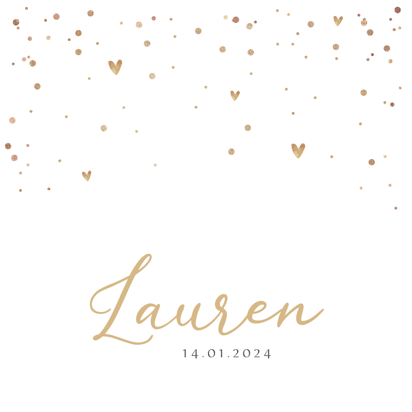 Geboortekaartjes - Geboortekaartje goud sterren confetti stijlvol hartjes