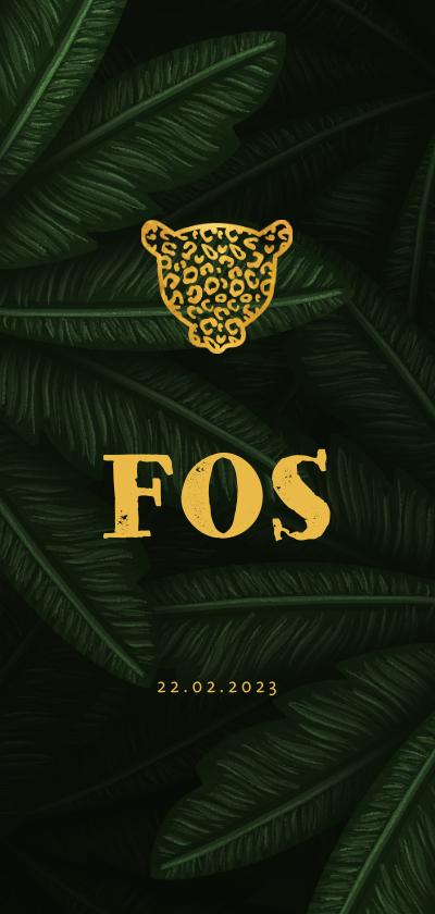 Geboortekaartjes - Geboortekaartje gouden silhouet panter met jungle bladeren