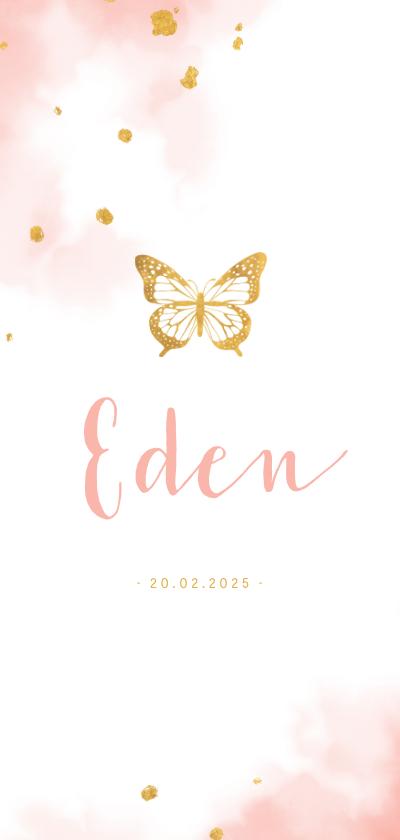Geboortekaartjes - Geboortekaartje gouden vlinder met waterverf