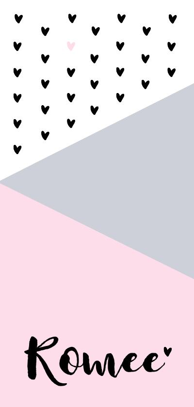 Geboortekaartjes - Geboortekaartje grafisch hartjes hip roze