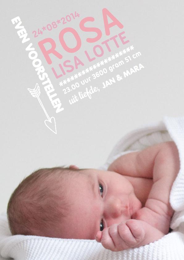 Geboortekaartjes - Geboortekaartje Grafisch Rosa