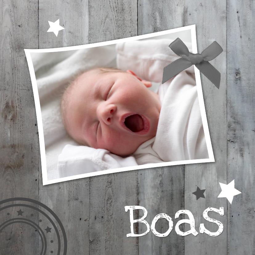 Geboortekaartjes - Geboortekaartje Grijs Hout 1LS3