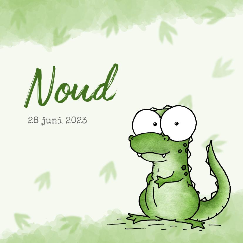 Geboortekaartjes - Geboortekaartje groen - Lieve kleine dinosaurus