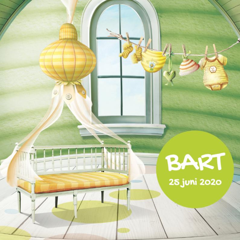 Geboortekaartjes - Geboortekaartje groen scrapbook