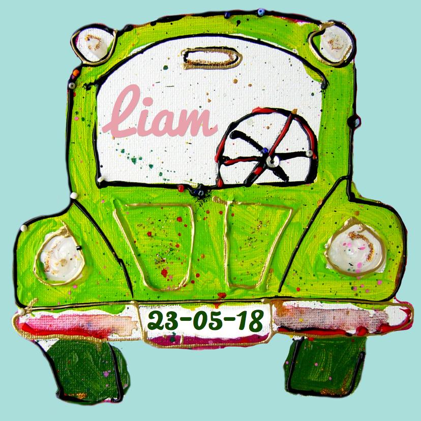 Geboortekaartjes - Geboortekaartje groene auto