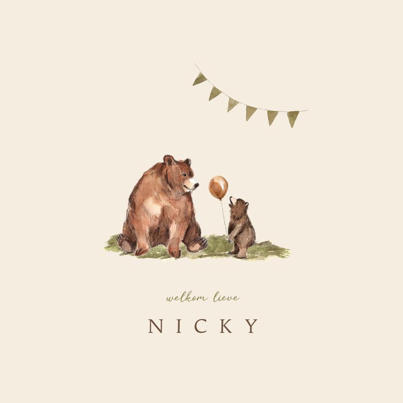 Geboortekaartjes - Geboortekaartje grote beer en klein beertje met vlaggetjes