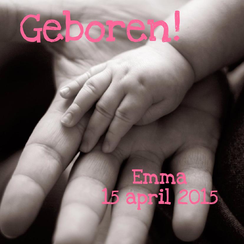 Geboortekaartjes - Geboortekaartje Handjes Foto