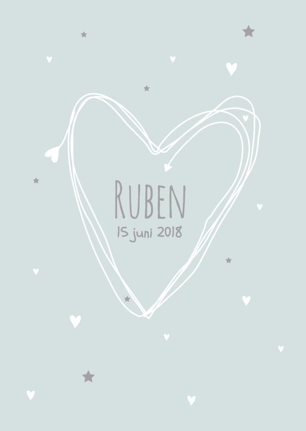 Geboortekaartjes - Geboortekaartje hart eenvoudig J