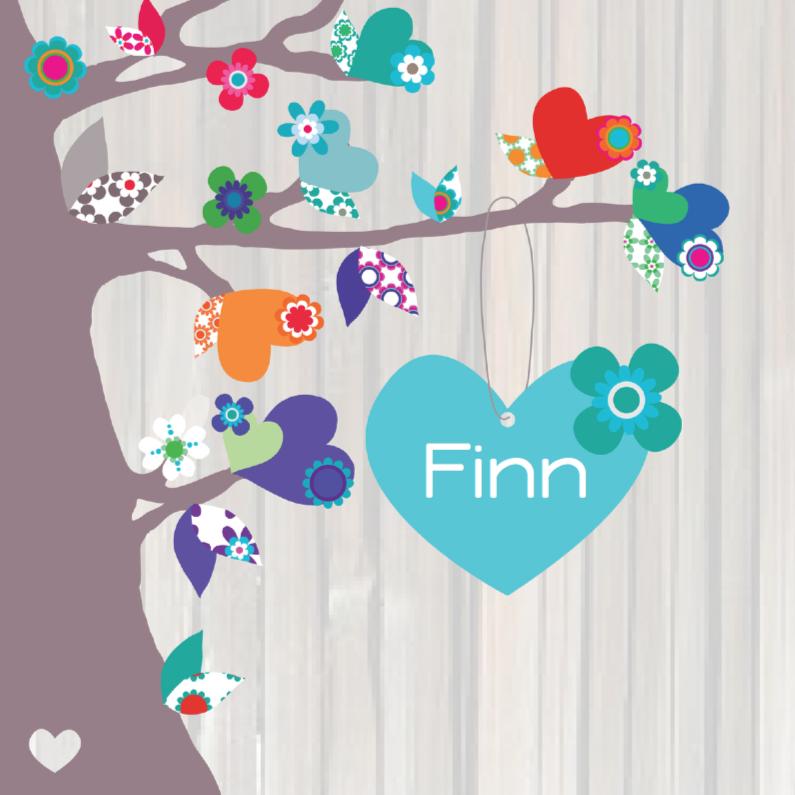 Geboortekaartjes - Geboortekaartje Hart Finn