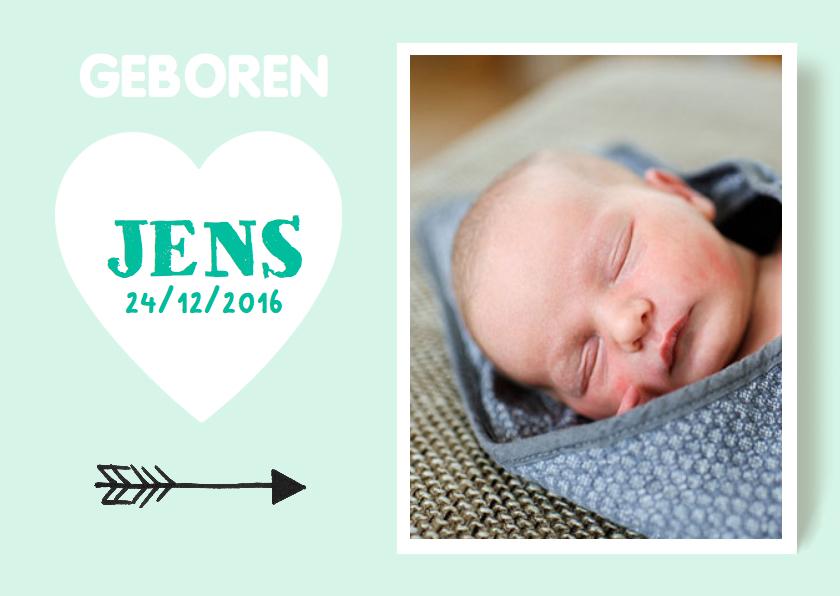 Geboortekaartjes - Geboortekaartje hart foto pastel