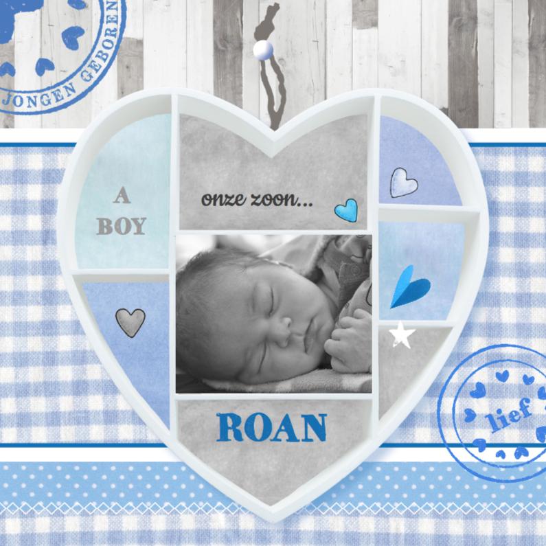 Geboortekaartjes - Geboortekaartje  hart foto Roan
