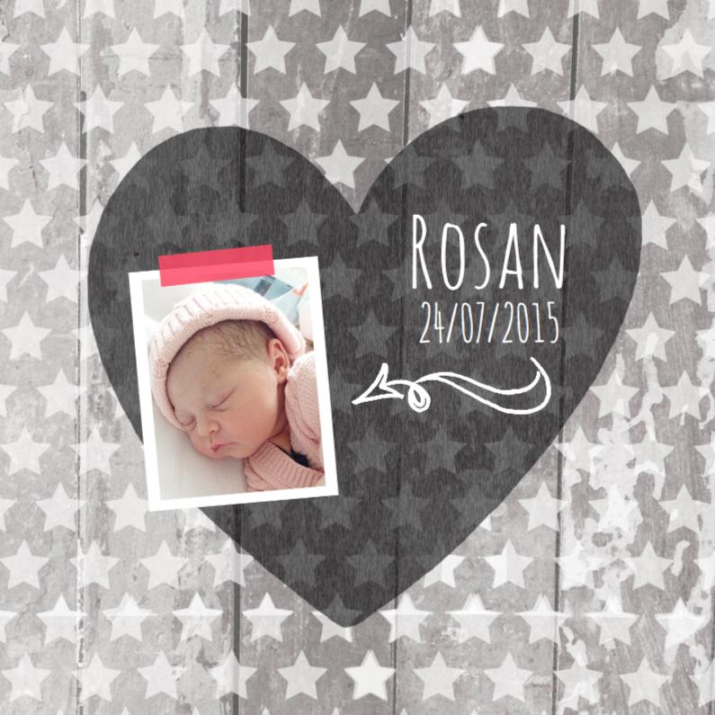 Geboortekaartjes - Geboortekaartje hart Rosan