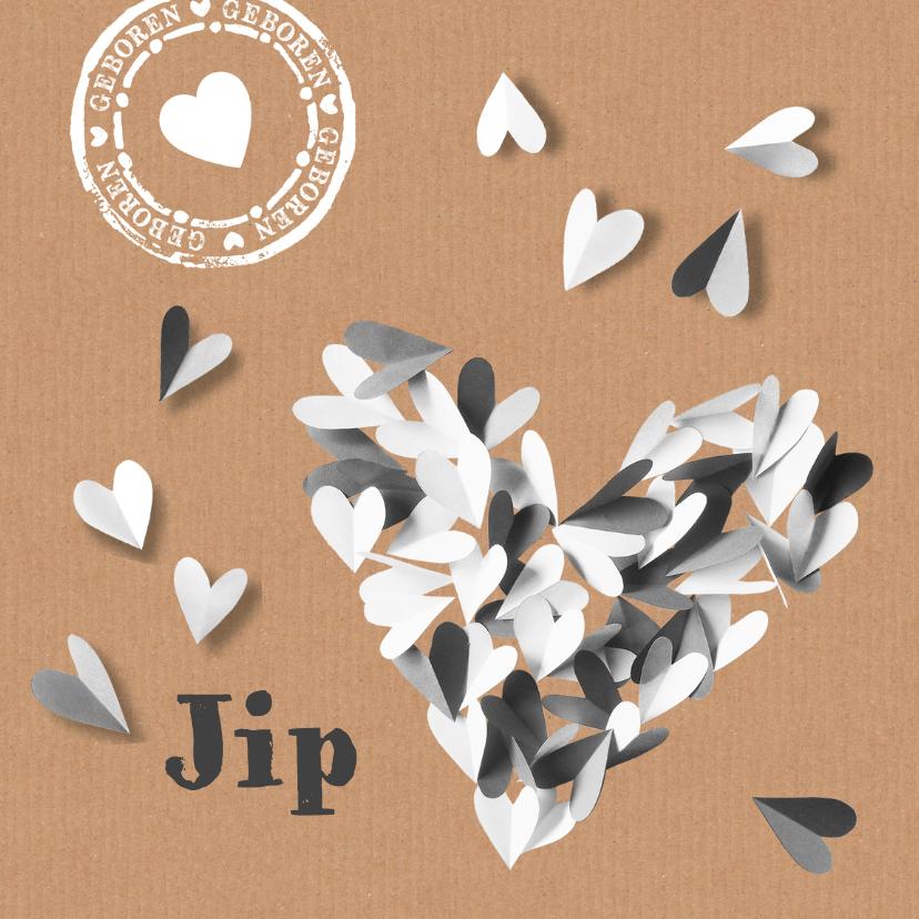 Geboortekaartjes - Geboortekaartje hart zwart wit