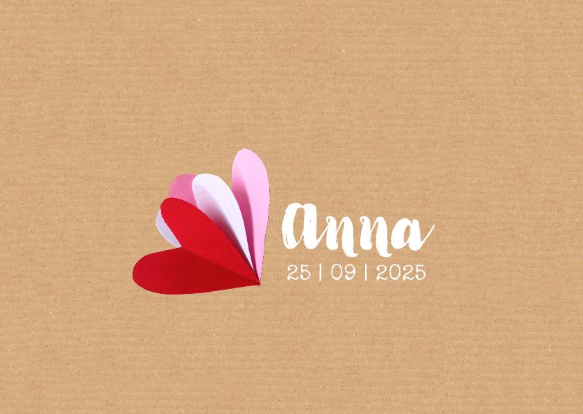 Geboortekaartjes - geboortekaartje hartjes Anna