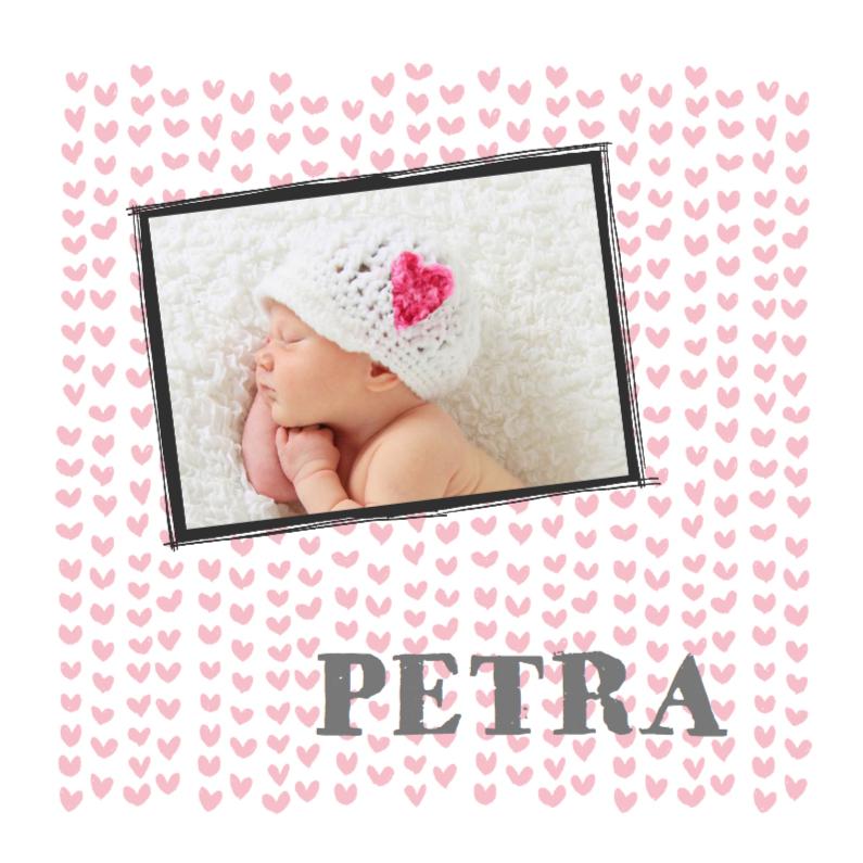 Geboortekaartjes - Geboortekaartje hartjes en foto