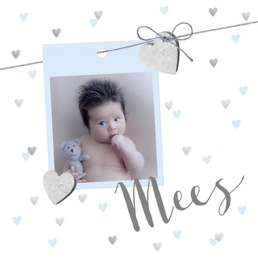 Geboortekaartjes - Geboortekaartje hartjes foto lichtblauw