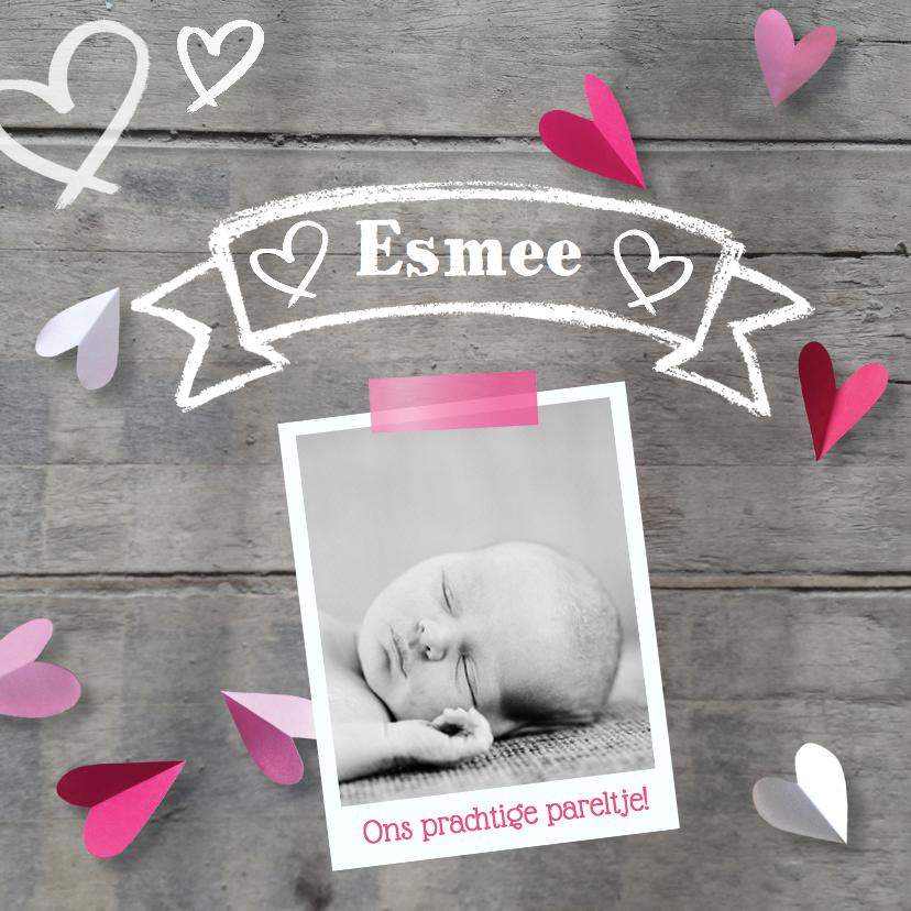 Geboortekaartjes - Geboortekaartje hartjes hout