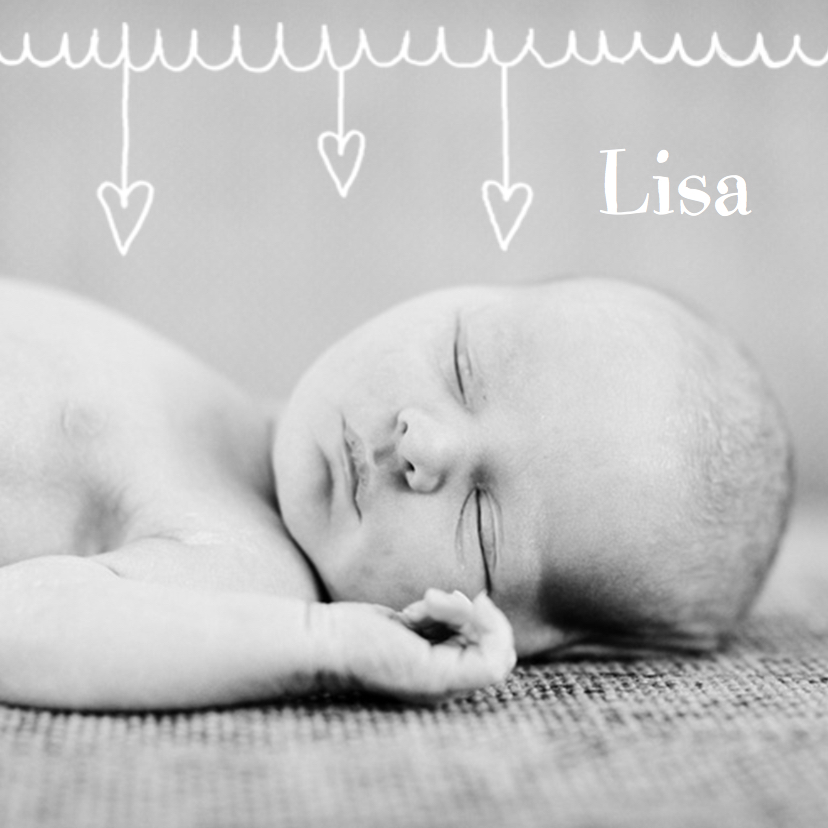 Geboortekaartjes - Geboortekaartje hartjes Lisa