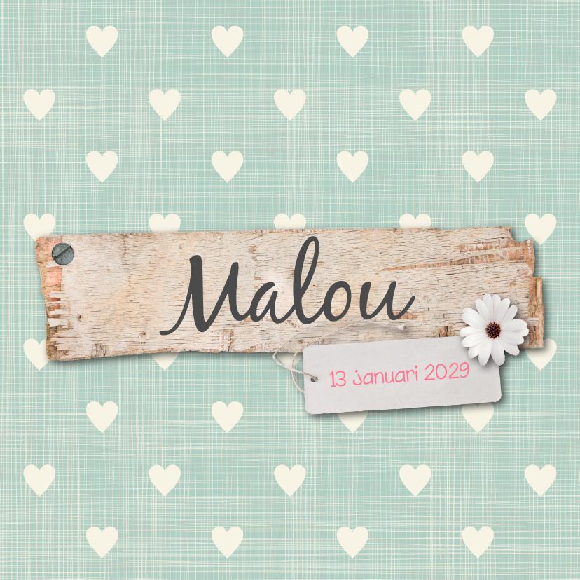 Geboortekaartjes - Geboortekaartje-hartjes-Malou-SK