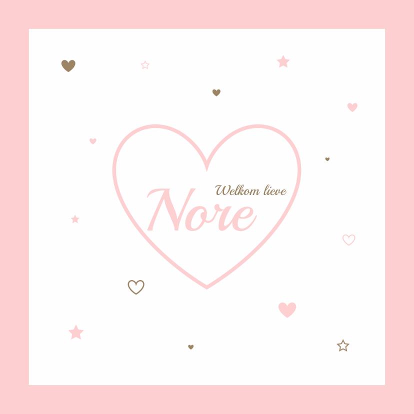 Geboortekaartjes - Geboortekaartje hartjes meisje