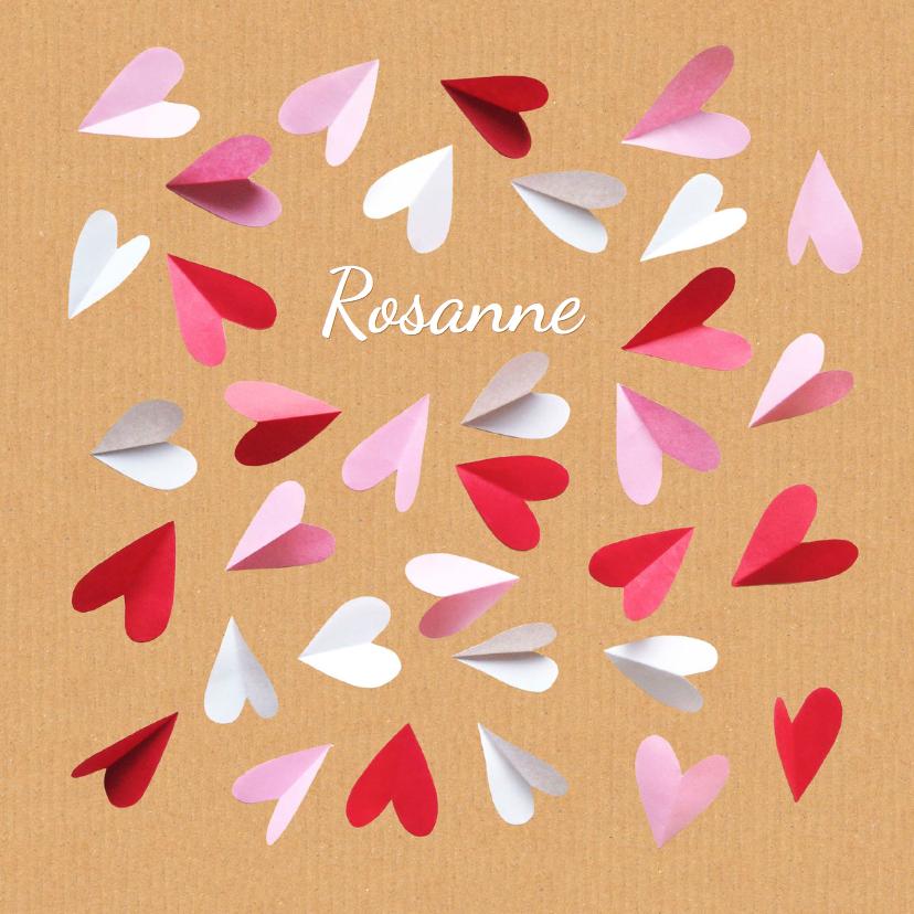 Geboortekaartjes - geboortekaartje hartjes Rosanne