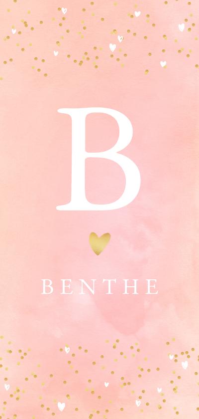 Geboortekaartjes - Geboortekaartje hartjes waterverf letter roze