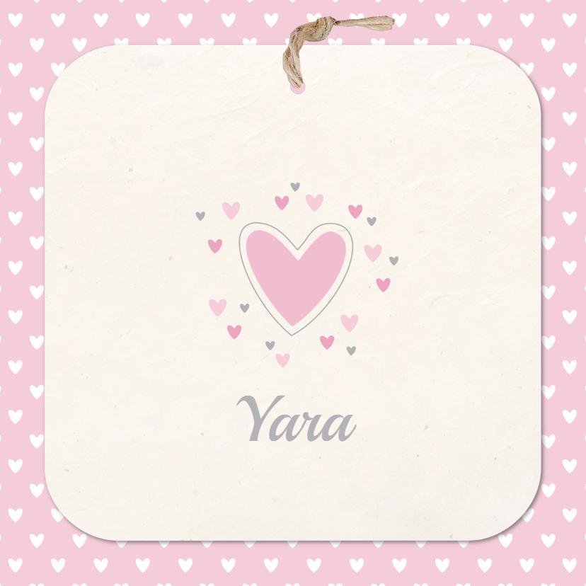 Geboortekaartjes - Geboortekaartje hartjes Yara