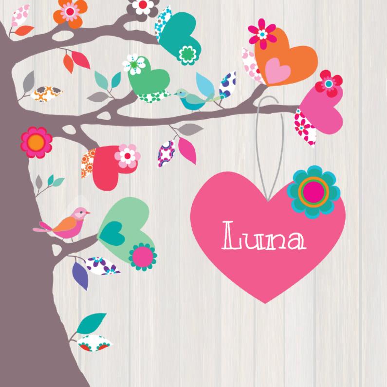 Geboortekaartjes - Geboortekaartje Hartjesboom Luna