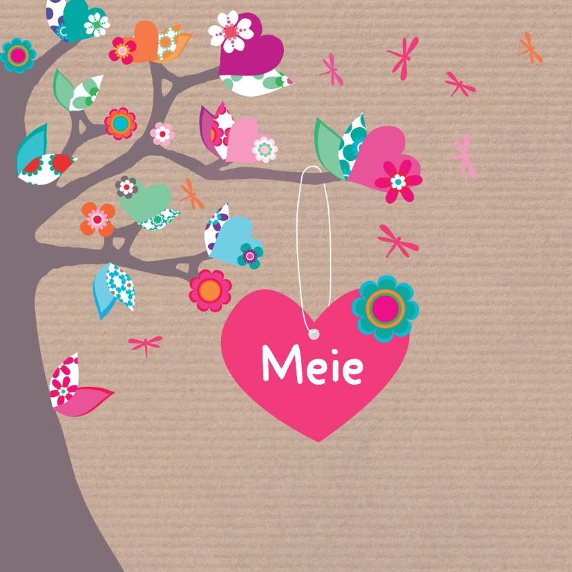 Geboortekaartjes - Geboortekaartje hartjesboom Meie
