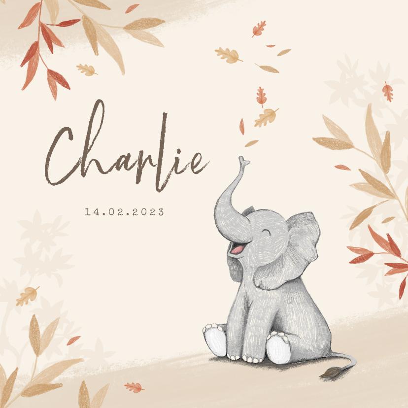 Geboortekaartjes - Geboortekaartje herfst olifant unisex blaadjes jongen meisje