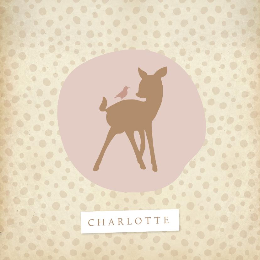 Geboortekaartjes - Geboortekaartje hertje roze