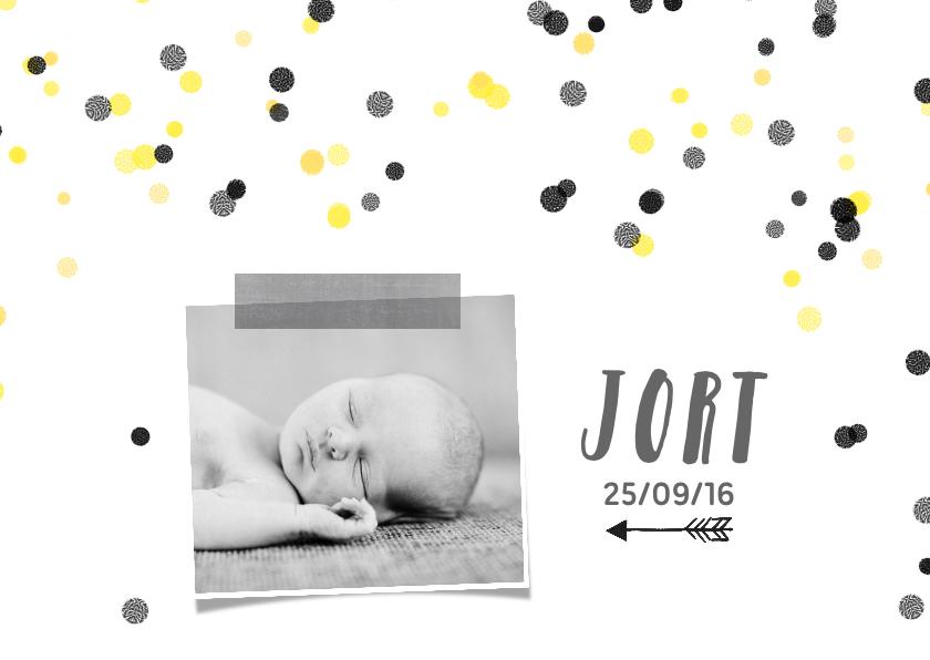 Geboortekaartjes - Geboortekaartje hip confetti